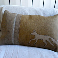 hand printed natural hessian rustic fox cushion