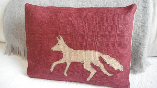 Hand printed new red fox cushion