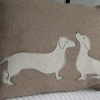 hand printed daschund pair cushion