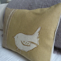 hand printed little gold wren cushion