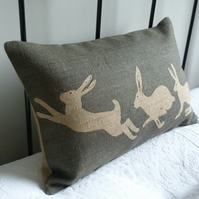 hand printed charcoal triptyque hare cushion