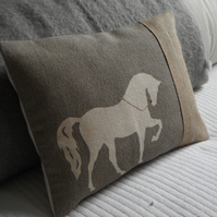 hand printed mink trotting horse cushion