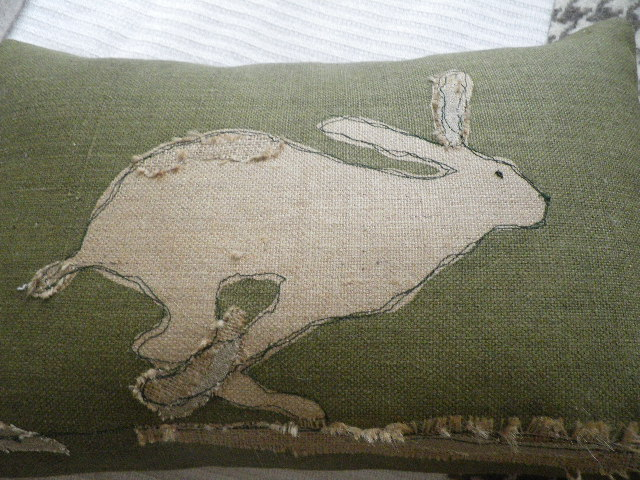 Handprinted rustic hessian hare cushion with ap folksy