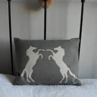 Handprinted horses cushion in pale grey and ivory......