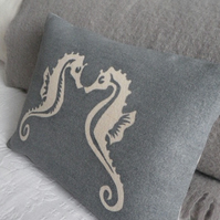 Blue kissing sea horse cushion