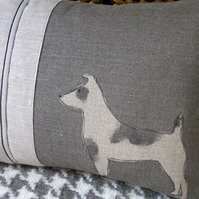 new hand printed greys jack russell cushion