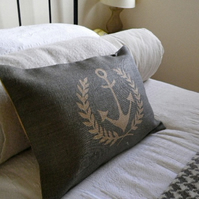 hand printed rustic blues laurel and anchor cushion