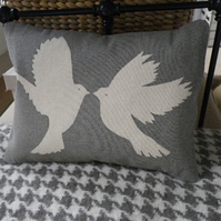 hand printed greys bird cushion