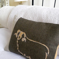 hand printed charcoal sheep cushion