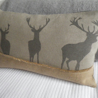 hand printed linen triple stag cushion