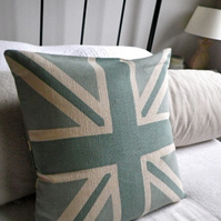 Hand printed duck egg union jack reversible cushion