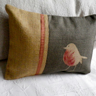 hand printed  charcoal robin cushion