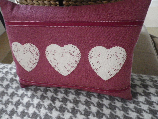 hand printed triple mulberry heart cushion