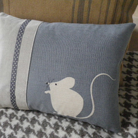 Hand printed blue mouse cushion