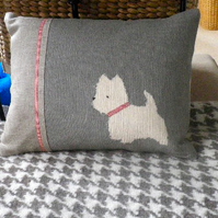 Hand printed west highland terrier cushion