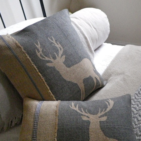 hand printed rustic stag cushion