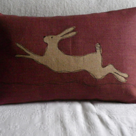 Mulberry leaping hare  cushion