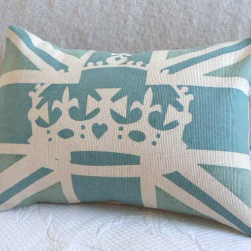 handprinted norfolk blues union jack flag cushion with crown overlay