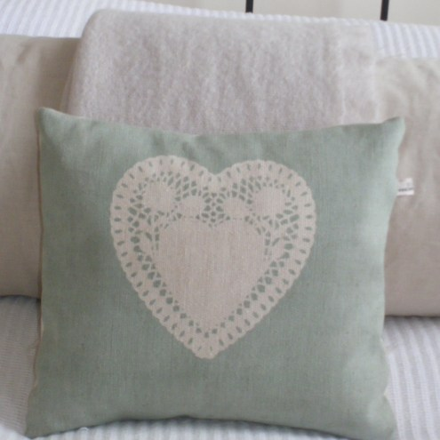 duck egg blue handprinted heart cushion folksy. Black Bedroom Furniture Sets. Home Design Ideas