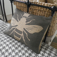 hand printed Queen bee cushion