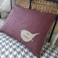 Hand printed and exclusive stitched little plum hessian jenny wren cushion
