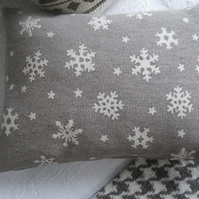 hand printed and exclusive snowflake cushion