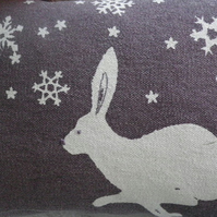 hand printed exclusive snowflake hare cushion