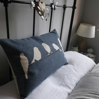 handprinted large deep muted blue bird on a wire cushion cover