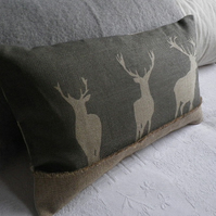hand printed loomstate  linen charcoal triple stag cushion