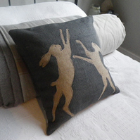 hand printed grey  blues boxing hares cushion