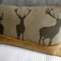 hand printed natural loom state triple grey stag cushion