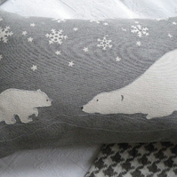 Handprinted exclusive snow flake polar bear mother and cub cushion