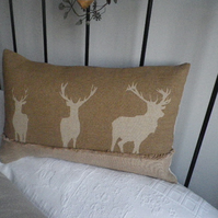 exclusive hand printed soft  brown triple stag cushion