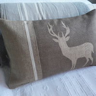 Exclusive hand printed rustic mink brown stag cushion