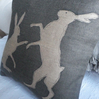 Helkat hand printed new charcoal rustic boxing hare cushion