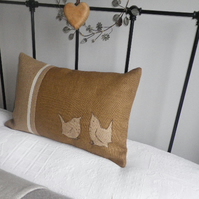 new exclusive hand printed brown rustic wren pillow