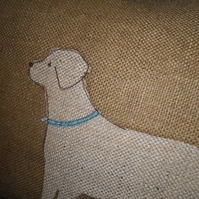 hand printed and stitched labrador cushion