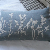 hand printed muted blue greys linen meadow cushion