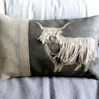 hand printed and appliquéd shaggy highland cow cushion