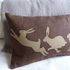 hand printed heather brown triptyque  hare cushion