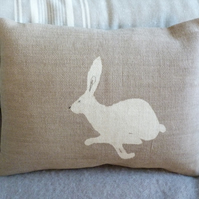 hand printed little stone logo hare cushion