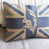 new hand printed rustic union jack scottish thistle cushion