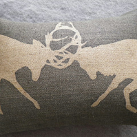 handprinted charcoal rustic rutting stag cushion