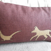 hand printed plum brown fox and pheasant cushion