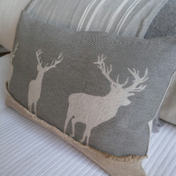 Hand printed muted grey triple stags cushion