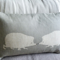 Handprinted muted grey hedgehog pair cushion