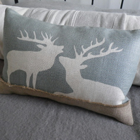 hand printed eau de nil stag pair cushion
