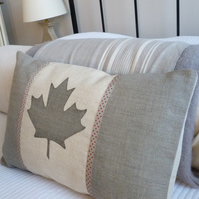 hand printed dove grey Canadian flag cushion