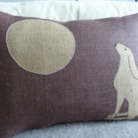 hand printed little heather moon gazing hare cushion