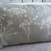 hand printed eau de nil cow parsley and seed head cushion